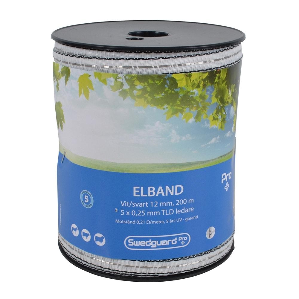 Elband Swedguard Pro+ 12mm Vit/svart 200 M 5x0,25