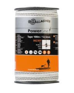 Elband Gallagher PowerLine 12,5mm vitt 100m