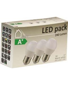 LED Klot 3W 3-pack Opal E27 240lm 3000K
