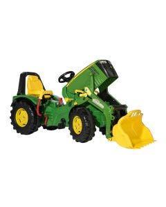 rollyX-Trac Premium Rolly Toys John Deere 8400R med Frontlastare och Öppningsbar Motorhuv