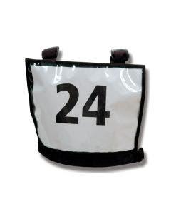 Nummmerlappsväst Basic A4-ficka fram och bak justerbar i sida och axlar, svart 33x26 cm