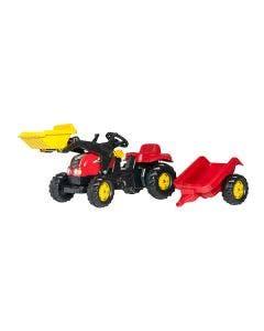 Rolly Toys Tramptraktor  Röd med släp och frontlastare