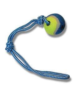 Bollslunga med tennisboll och rep gul/blå 6 x 43 cm
