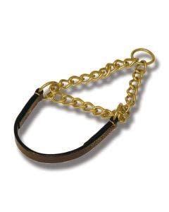 Halsband halvstryp läder brun 55 cm x 18 mm