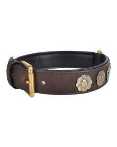 Hundhalsband läder Blomman 45 x 3 cm brun