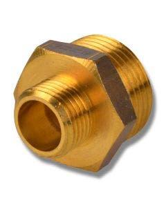 Mässing 6-kants nippel utvändig gänga R25 x R20