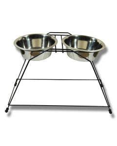 Matbar extra hög med två rostfria skålar 2 x 3 l