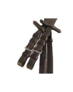 Ribbad Lädertygel Stålspänne Brun