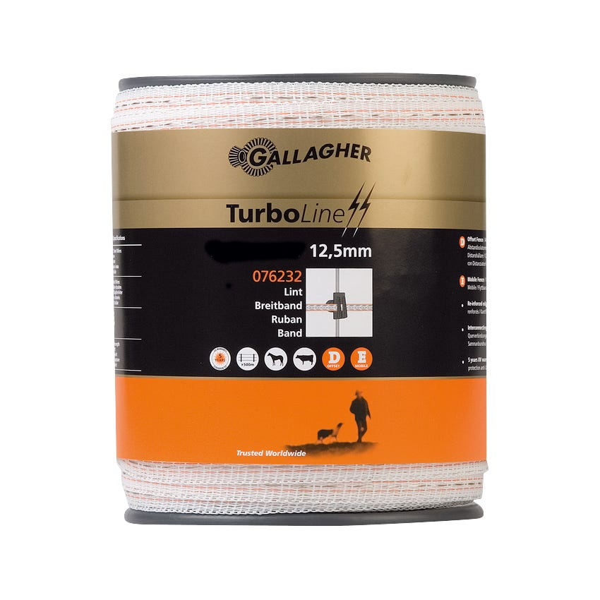 Elband Gallagher Turboline Vitt 12,5mm 400 M