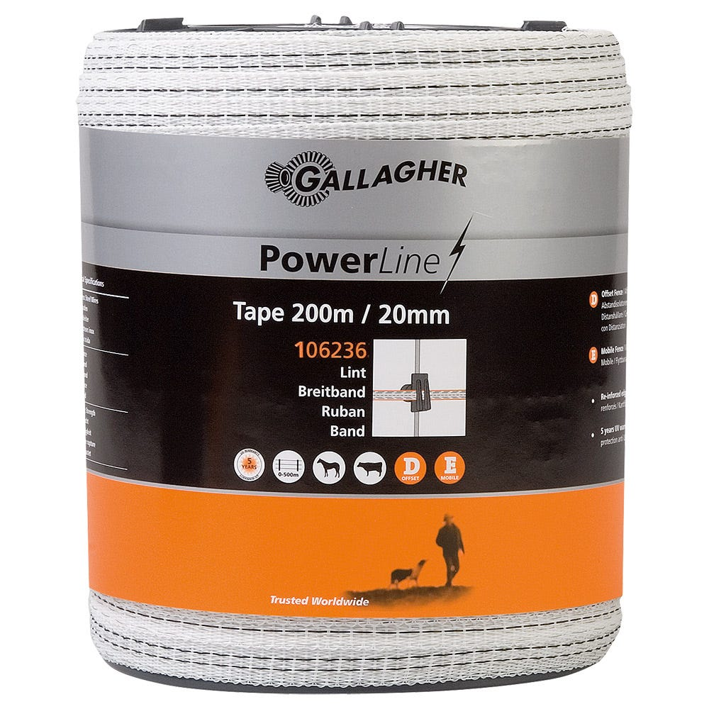 Elband Gallagher Powerline Vitt 20mm 200 M