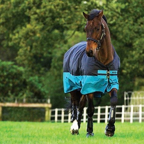 Regntäcke Horseware Mio Turnout Lite Svart/Turkos 160 cm - Horseware
